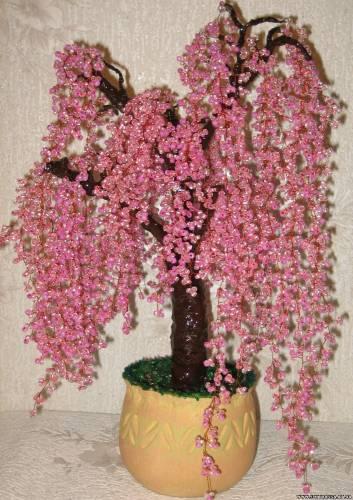 """Декоративное дерево из бисера  """"Цветущая сакура """".  Дата: 18.03.10 Теги."""